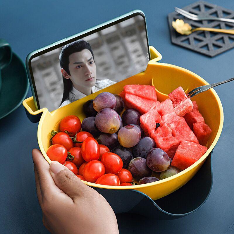 双层水果盘沥水篮家用塑料懒人糖果盘盒创意厨房客厅嗑吃瓜子盘