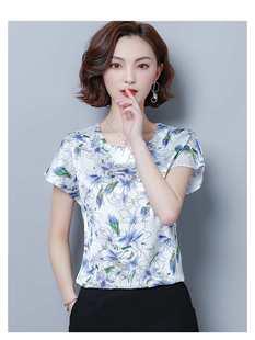2020新款杭州絲綢真絲上衣女中老年夏裝短袖媽媽重磅桑蠶絲小襯衫