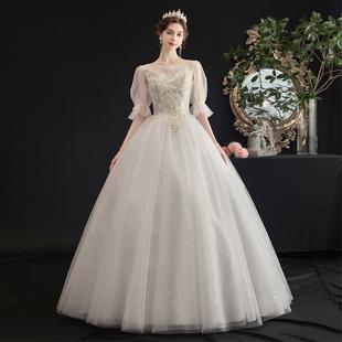 一字肩法式主婚紗2020新款齊地氣質小個子森系超仙夢幻2019新娘