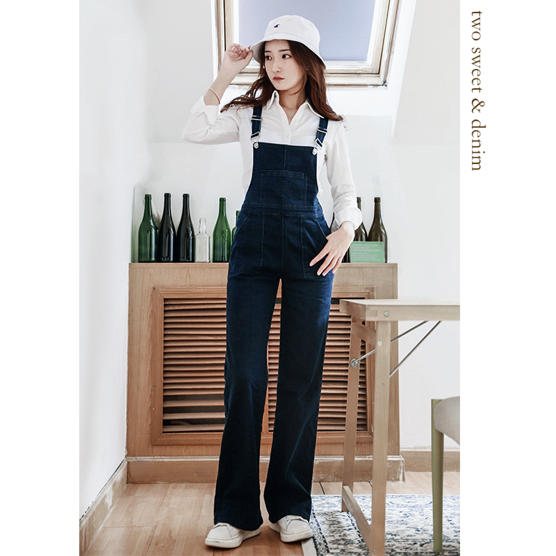 Great recommendation! Slim leg long foreign style age reducing straight tube strap jeans womens close Waist Wide Leg one-piece pants