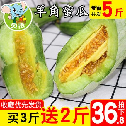 山东博洋羊角蜜甜瓜带箱发5斤包邮新鲜小香瓜脆瓜孕妇水果批发