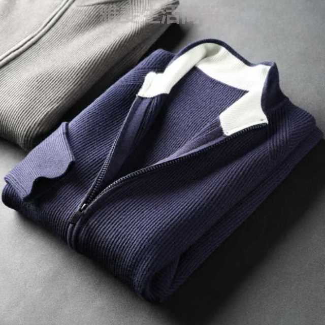 High quality wool coat blended slim cashmere cardigan mens sweater