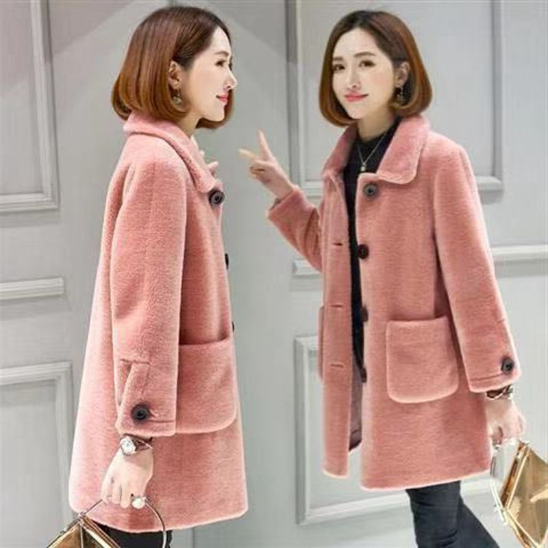 Cashmere coat womens middle and long style 2020 winter new lambs fur and fur one-piece thickening imitation fur coat for women