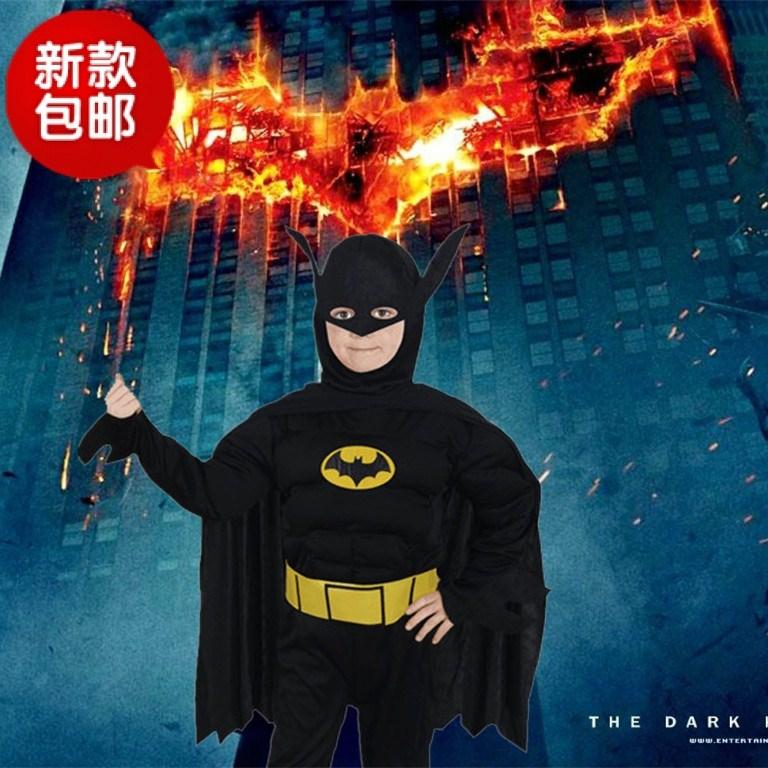 万圣节儿童表演演出服装六一节超级英雄披风肌肉型蝙蝠侠英雄联盟