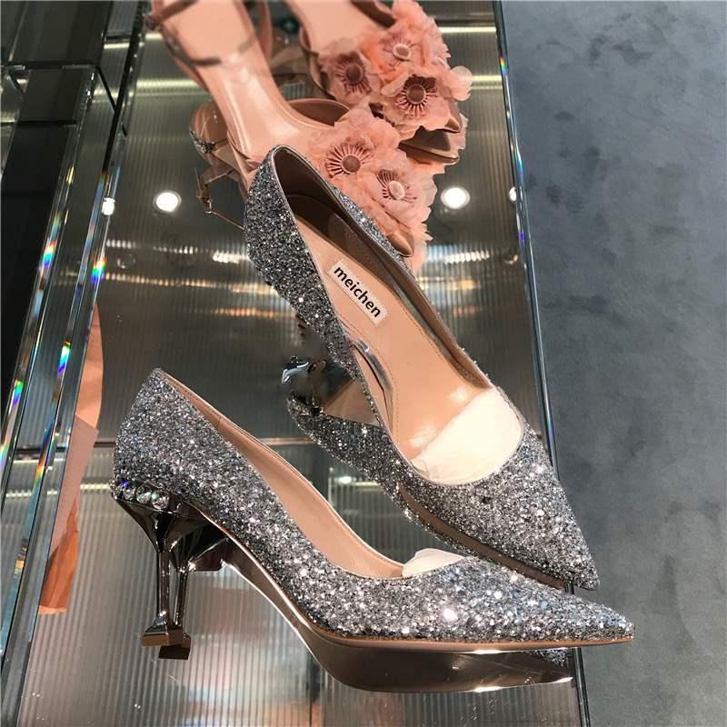 婚鞋高跟鞋公主婚纱鞋2019春款银色水晶亮片尖头超烫少女网红小ck