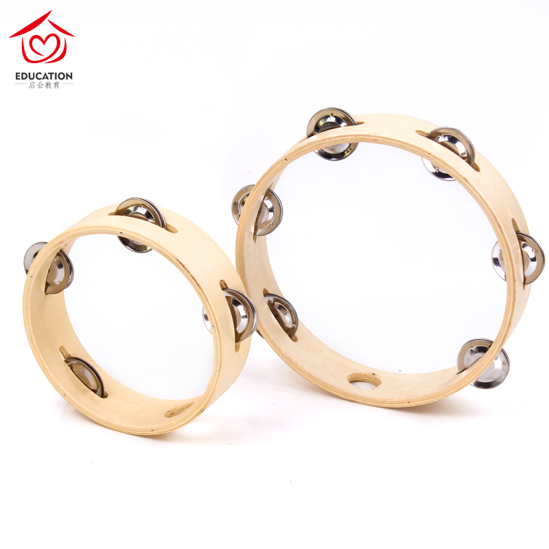 Hand tambourine childrens kindergarten Orff percussion instrument single and double row bell ring hand clap drum dance performance hand drum
