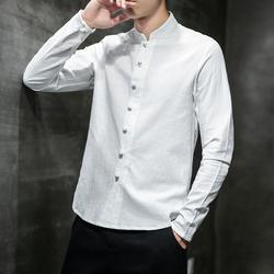 2020春季中国风长袖立领衬衫亚麻手工盘扣衬衫长袖衬衫CS87 p35