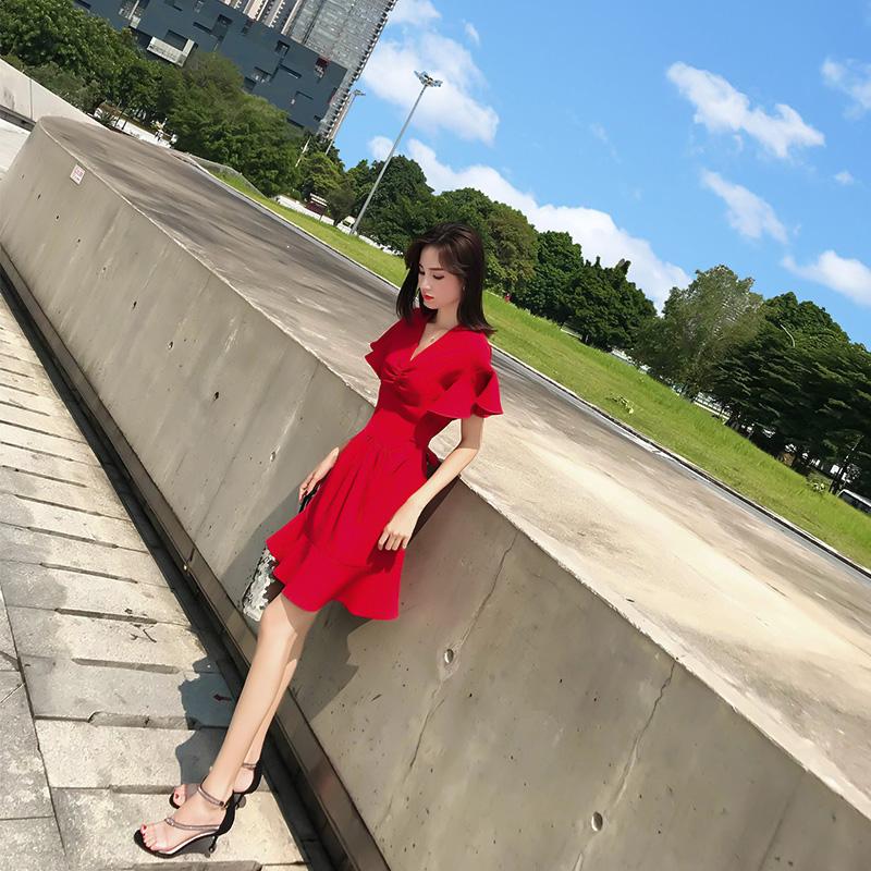 很仙的法小众桔梗裙仙女超仙甜美红色连衣裙2019新款夏裙子热销0件假一赔三