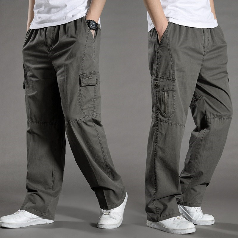 。 Casual pants cloth pants zipper overalls mens loose middle-aged elastic belt washing summer autumn winter multifunctional winter