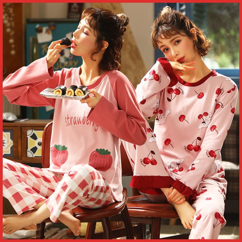 新款睡衣女春秋季纯棉长袖韩版学生可爱女士秋冬家居服套装可外穿