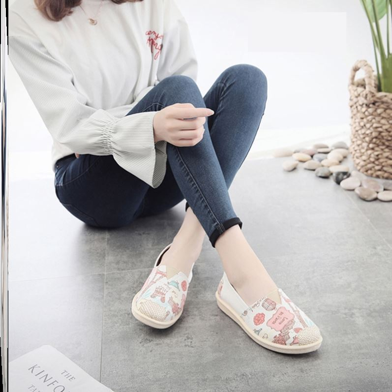 Striped slacker canvas shoes womens one foot white shoes fashion summer high school students sports light simple summer dark