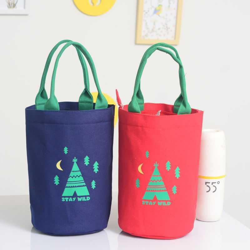Round lunch bag heat preservation bucket cover lunch box bag carry rice bag Snack Bag Canvas Bento