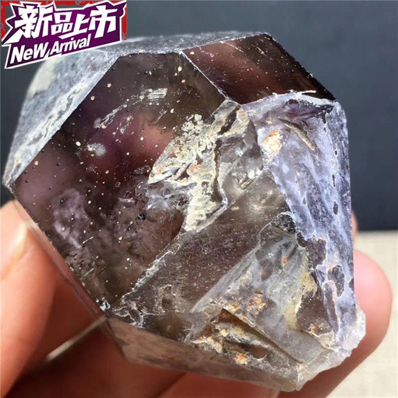 天然紫晶发云母原5石摆件 紫m发云母包g裹流动水胆原石摆件 一物