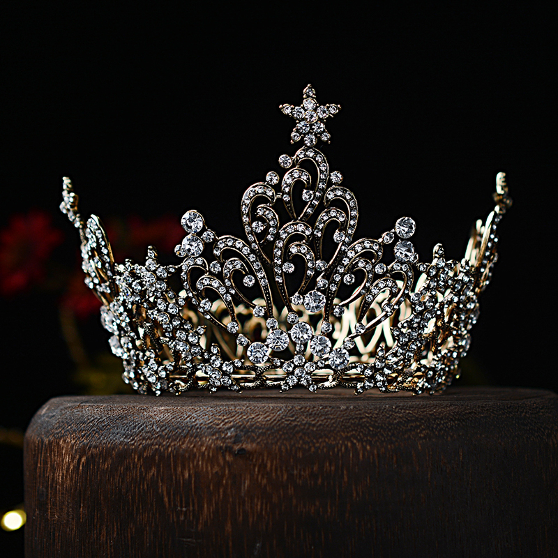 Black Bride crown headdress retro Baroque whole ring palace crown round hair crown dress accessories female 1192