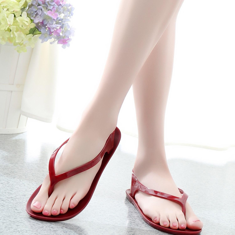 满11元可用10元优惠券标准夏季塑料水晶高弹人字拖凉鞋