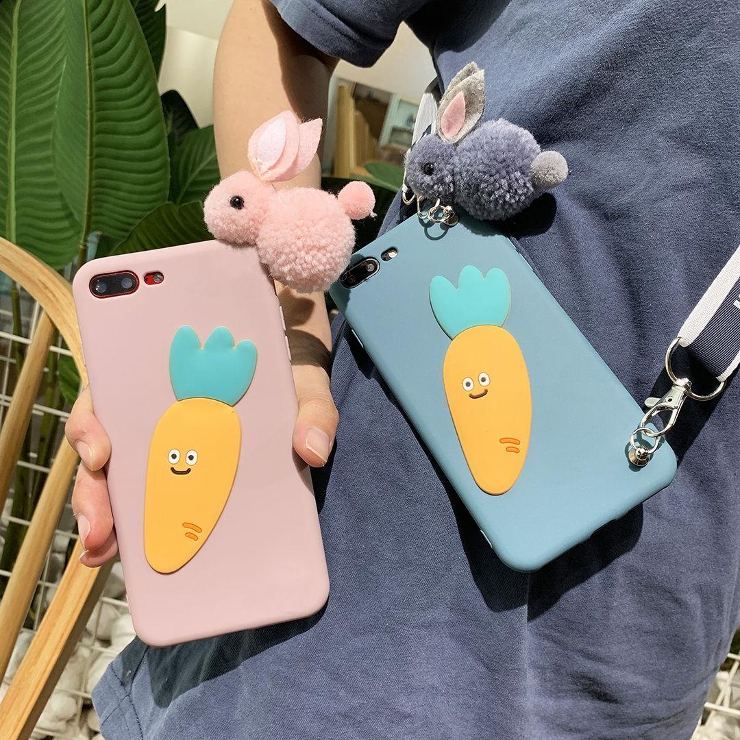 毛绒兔子手机壳适用oppor9 r9s r11 r11s plus女斜挎绳立体卡通软图片