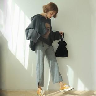 秋季套裝女新款學生韓版寬鬆原宿風印花衞衣+高腰闊腿褲兩件套潮