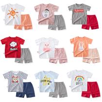 女宝宝纯棉短袖套装0婴儿小童夏装男童1-3岁童装儿童短裤夏季衣服