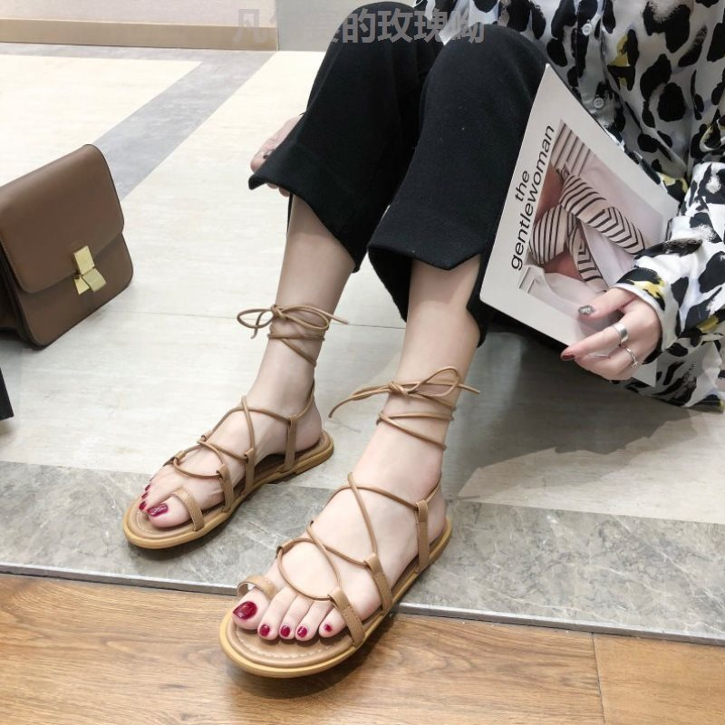 Sandals fairy style new Korean version clip toe Roman ankle cross strap beach shoes in summer 2021