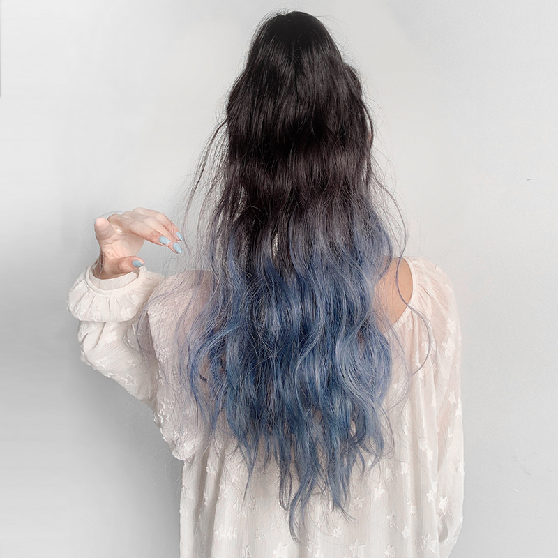Wig, ponytail, women's pick and dye, gradient color, fashion, fluffy, long curly hair, big wave, high ponytail, grab and braid, haze blue