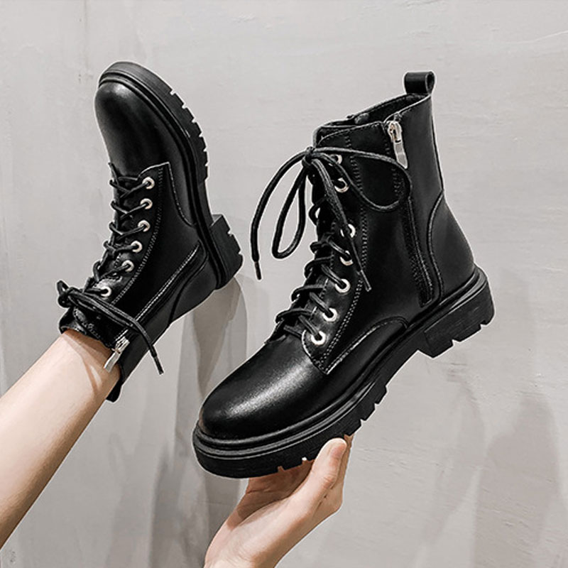 British style Martin boots womens autumn and winter 2020 new fashion thick bottom versatile middle heel side zipper large womens short boots