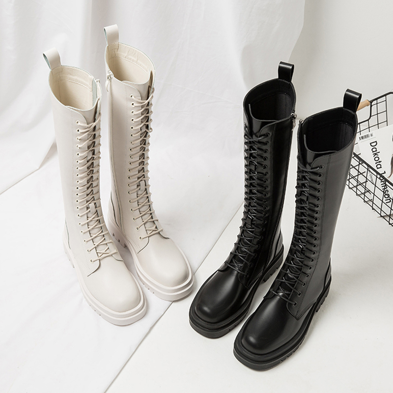 Net red boots womens fashion side zipper is not over the knee fall and winter 2020 new high tube Knight boots lace up length