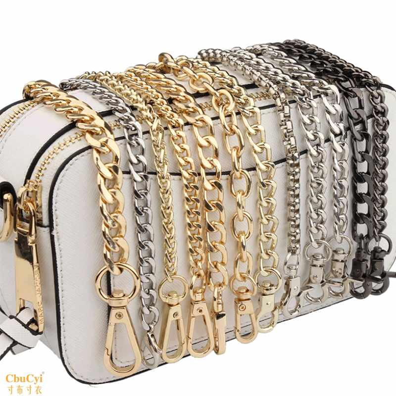 Metal belt, iron chain, extended belt, trend bag, transformation of chain, flat chain, chain belt, black diagonal span, water bucket bag