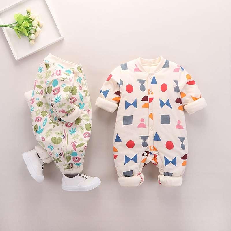婴儿秋冬长袖外穿连体衣0-1岁3-6个宝宝服饰女婴幼儿衣服时尚百搭