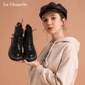 拉夏贝尔鞋马丁靴女2019冬季新款百搭潮ins帅气加绒英伦风短靴子