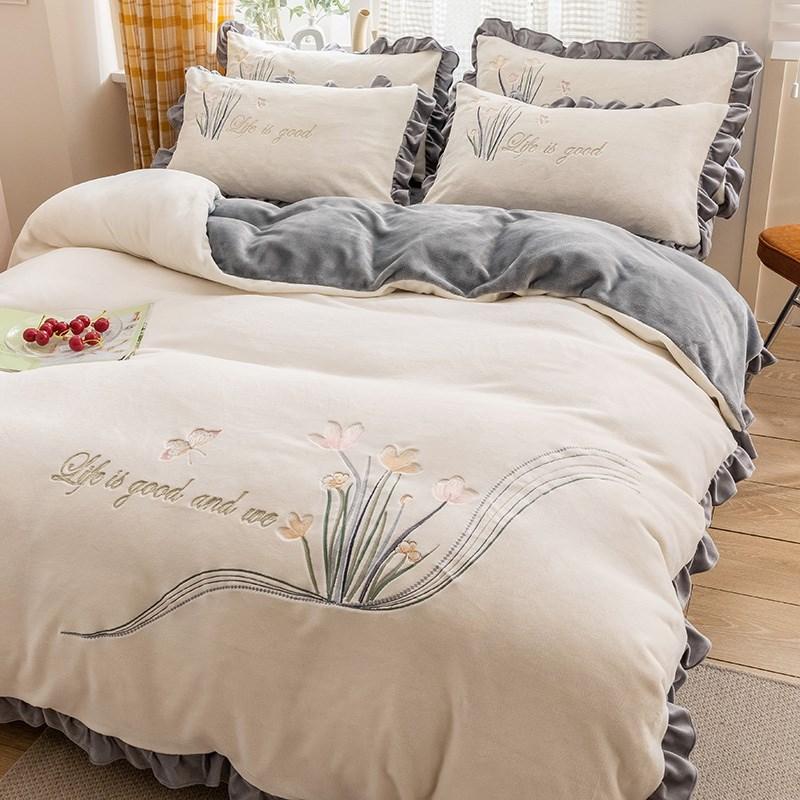 冬季网红绣花珊瑚绒四件套双面绒牛奶法兰绒床上加厚保暖床单被套