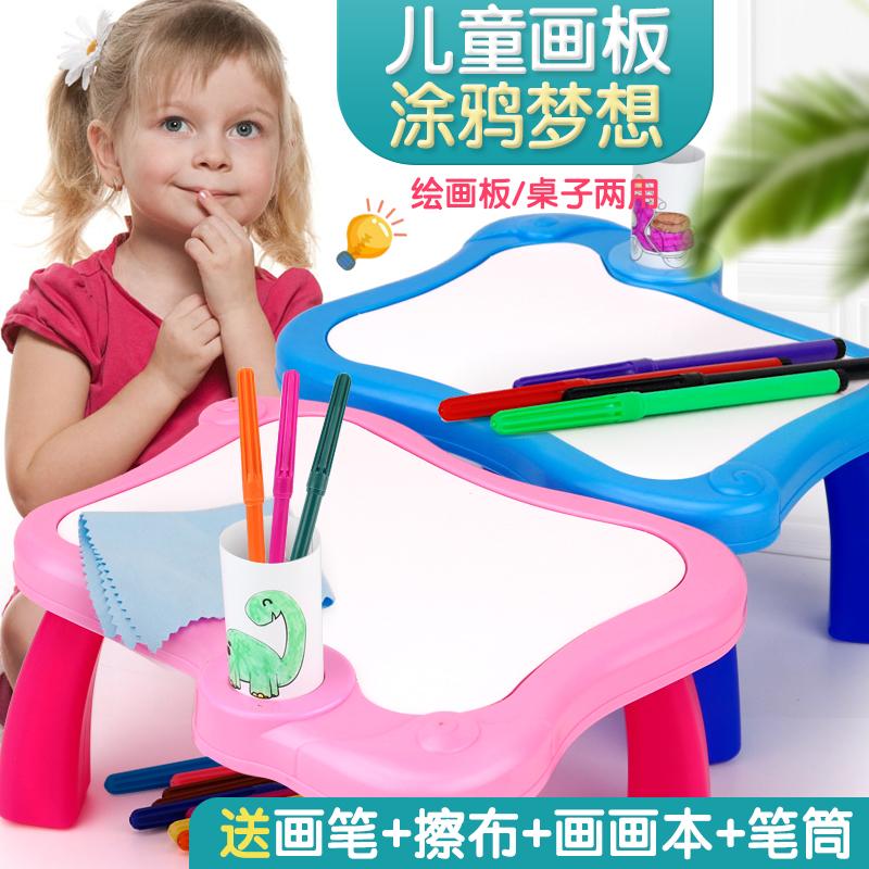 儿童宝宝画板桌画架家用彩色笔练字学习小白板涂鸦写字板益智玩具,可领取2元天猫优惠券