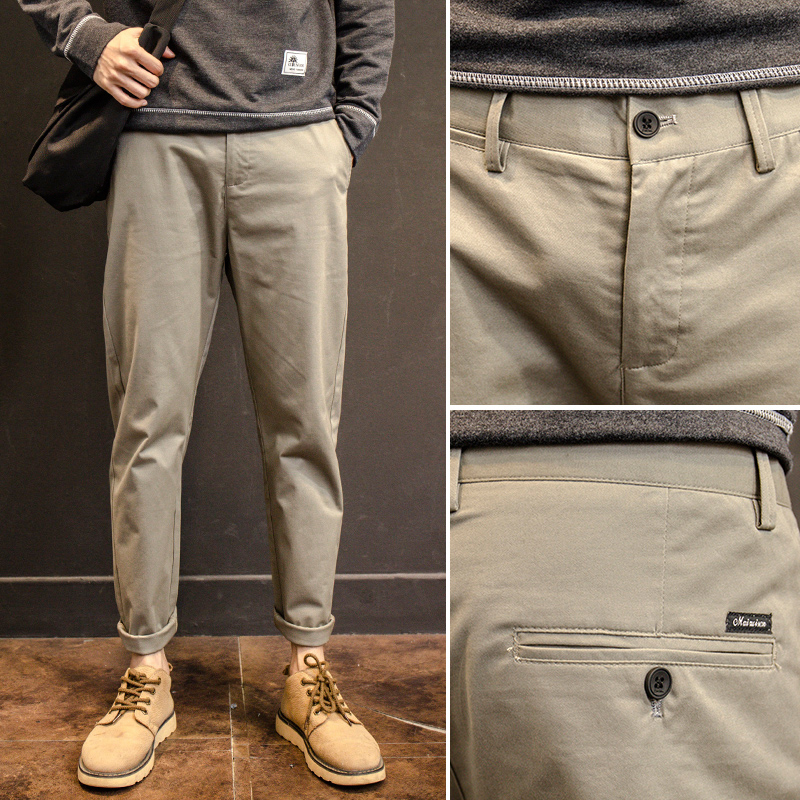 Spring and autumn casual pants mens Korean version fashion slim fit small foot work clothes versatile straight cone nine Leggings mens pants