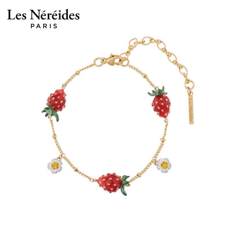 Les Nereides凡尔赛庄园系列小草莓白花手链耳钉耳环送闺蜜女友