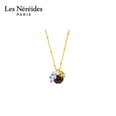 Les Nereides small wisteria flower and crystal stone pendant necklace French spring and summer vintage enamel 18k