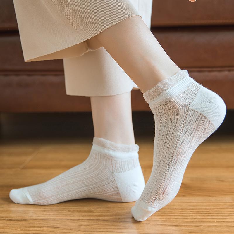 透明蕾丝花边短袜子女夏天薄款日系可爱女生袜网眼透气百搭低帮袜