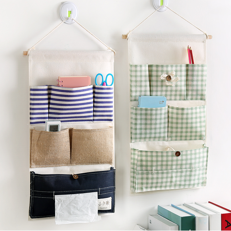 Small hanging bag pink convenient Oxford cloth dining room desk storage bag rectangular sticky wall hanging piece quilt bag hanging bag