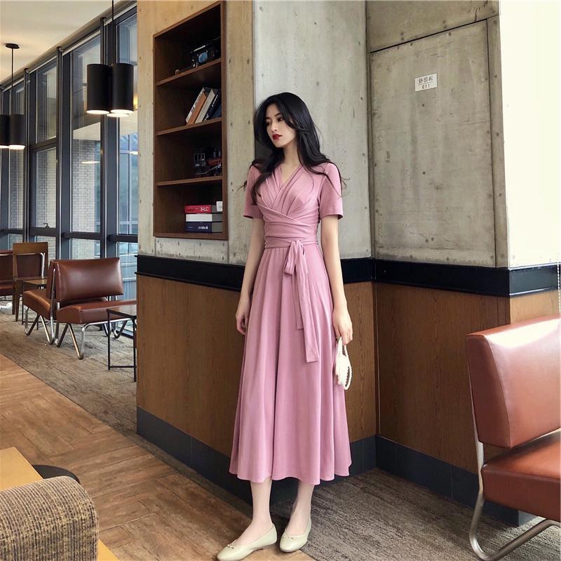 女神范衣服超仙名媛法式超长脚踝长裙显瘦显高气质约会心机连衣裙(非品牌)