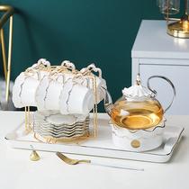 轻奢英式下午茶壶套装家用蜡烛加热花茶水果茶杯玻璃茶具北欧风格