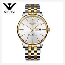 手表男士韩版间金双日历实心钢带手表蝴蝶按扣深度防水国产腕表