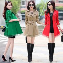 潮流时尚风衣女士中长款外套秋季新款女装淑女修身外套韩版上衣女