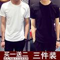 夏季男士短袖t恤韩版修身纯棉半袖紧身体恤白色打底衫新款2020潮