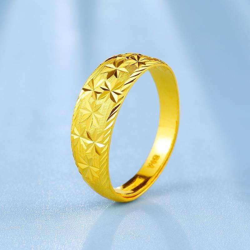 越南沙金黄金戒指女款满天星活口镀金戒指 结婚订婚求婚礼品