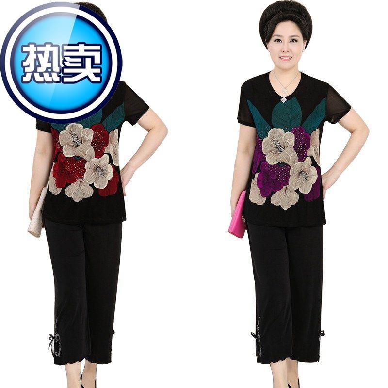 母亲节 f中老年人女装夏装短袖奶奶装套装6070岁穿的老人衣服夏。