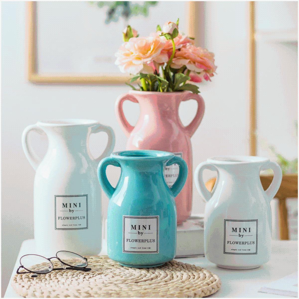 简约落地客厅创意时尚摆件家居装饰品陶瓷花器花瓶双花壶