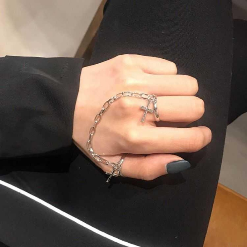 ? Korean version of INS personalized ring chain adjustable joint ring men and women hip hop Club Gothic clothing accessories