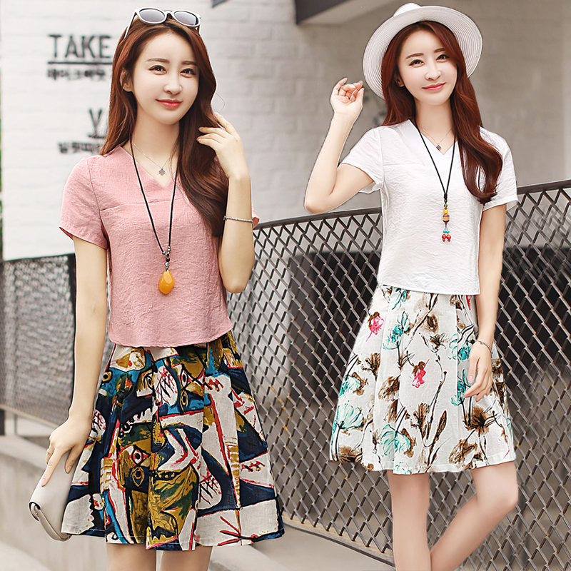 Fashion womens suit 2021 new skirt womens floral skirt womens skirt Korean Short Sleeve womens slim T-shirt