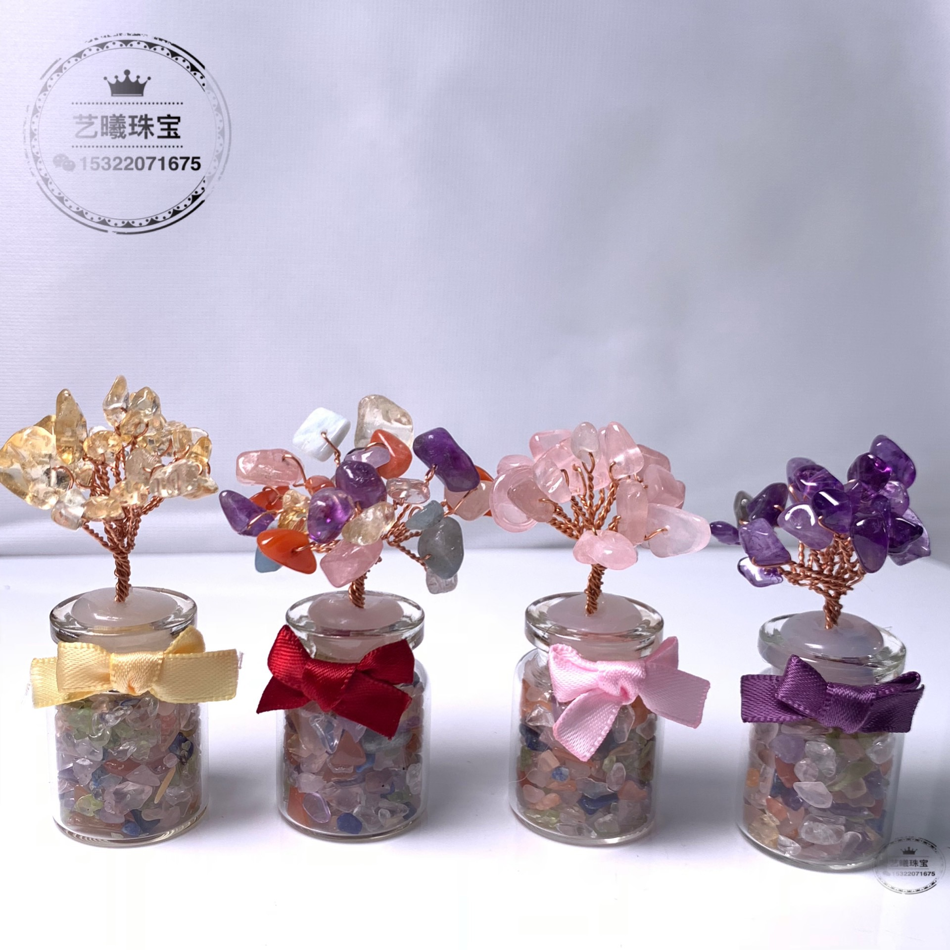 New mini crystal tree, topaz, amethyst, olivine, Duobao crystal, creative multicolor crystal ornament