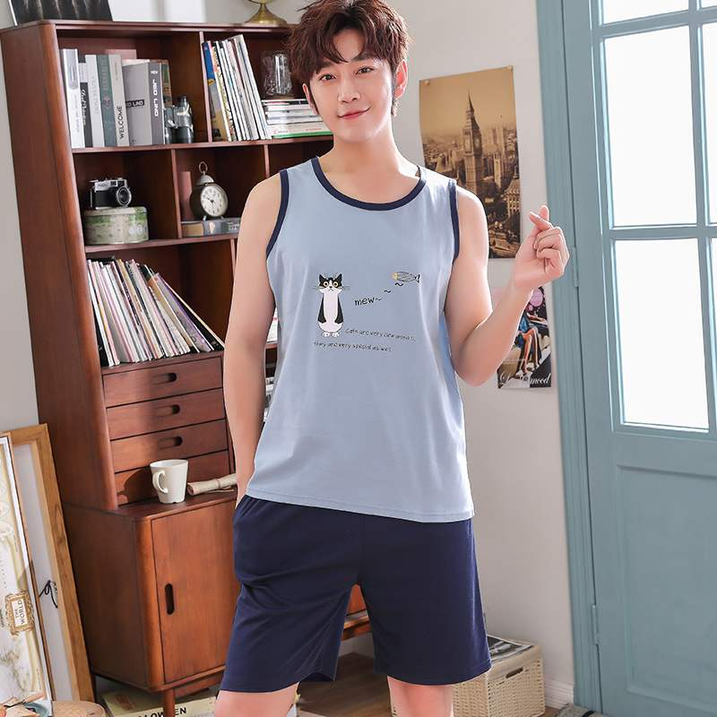 Summer pajamas mens sleeveless cotton mens Vest shorts plus fat and weight, thin summer home suit