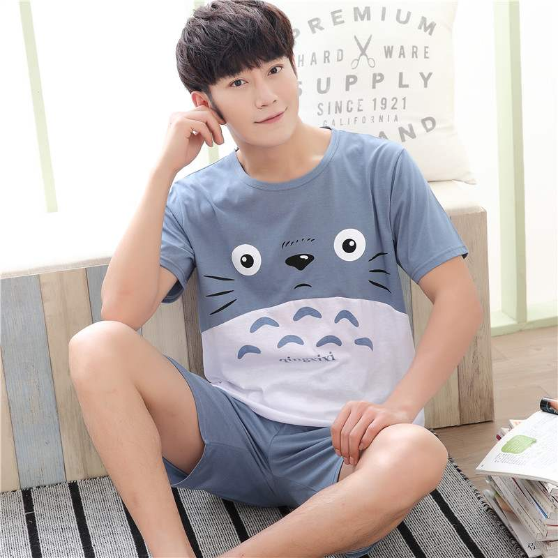Mens pajamas Summer Cotton Short Sleeve summer mens youth vest shorts all cotton home wear set size