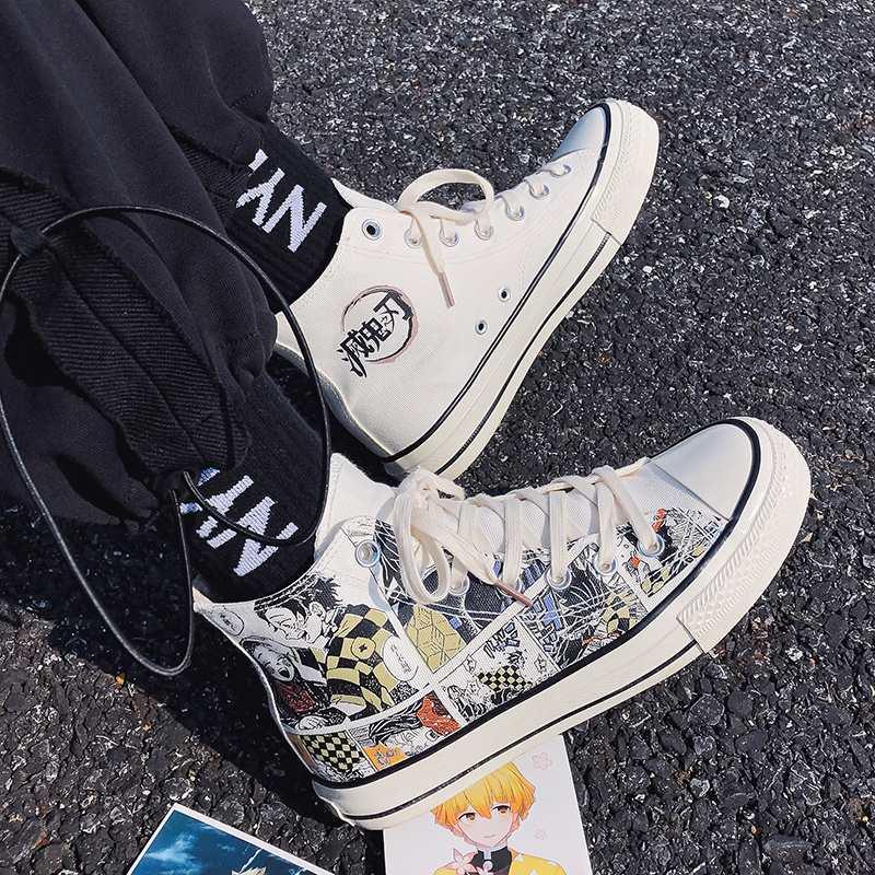 鬼灭之刃动漫联名男生帆布鞋高帮平板鞋潮流百搭漫画涂鸦休闲潮鞋